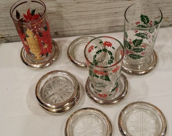Vintage 4 FB Rogers 1883 Sterling Silver and Glass Coaster Set.