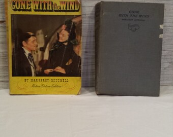 """Margaret Mitchell's """"Gone With the Wind"""". The November 1938 Hard Cover Edition and 1939 Soft Cover Motion Picture Edition. Both, one money."""