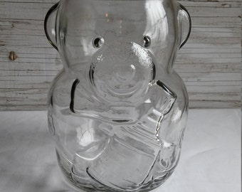 Vintage 1988-1990 NHL Hard-to-Find Kraft Peanut Butter Bear Glass Bank with a Green Slotted Lid.  Very Collectible and it has an ERROR.