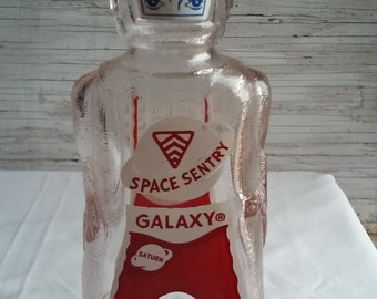 Vintage 1950s Space Sentry Galaxy Bank.  Bottom embossed Space Foods Baltimore,Md. Heavy Glass Mfg by Owens Illinois. Mint Condition. Clean