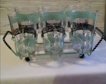 VINTAGE 50's - 60's Glass Set(6) with Caddy.  Perfect Condition. No Flea Bites. Teal blue and black. No Mfgs. Mark.  A great gift idea.