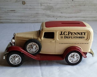 Vintage 1992 Ertl Die Cast Coin Bank. Bank is a 1932 Ford Delivery Van Adv. for J C Penney Dept. Stores. This Coin bank has the key.  No box