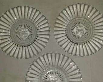 """3 Vintage Heisey 7 1/4"""" Bread and Butter Plates or Salad Plates. No Chips or Cracks. All Marked with the Heisey H. A Nice Collectible/Gift."""