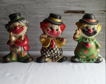 """Vintage 1985 Ceramic Clowns Signed E ZEN.  All are nicely painted by the Artist.  All are 7 1/2"""" tall and 4 1/2"""" at the feet.  Nice cond."""