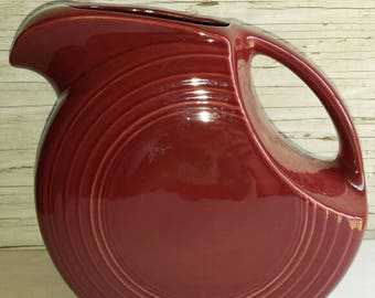 Vintage Magenta Fiesta 2 Quart Pitcher by Manufacturer Homer Laughlin and Made Proudly in the U.S.A. No chips, cracks or crazing. Nice color