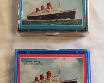 Vintage 2 Souvenir Decks of unopened Playing Cards of the Queen Mary Cruise Ship Docked at Long Beach, California Since 1967. Nice Souvenirs