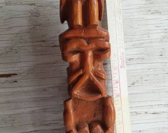 Native-American Hand Carved Totem-Pole with a Bird Seated atop a Man. Very-Nice-Cond. No Signature. No Damage. Nice Piece of History.