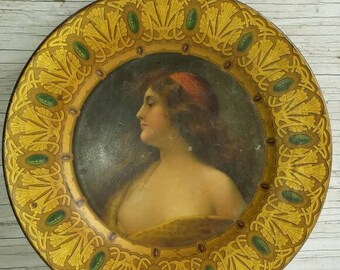 Antique Early 20th Century Royal Saxony Electroplated Tin Art Plate of a Beautiful Woman. Compliments Kuntz-Remmler Co. Chicago. Mfg. Shonk