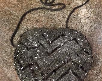 Vintage Made in Macau Black Sequined Over-the-Shoulder bag.