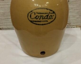 Vintage CONDE Advertising Stoneware 3 Gallon Water Jug