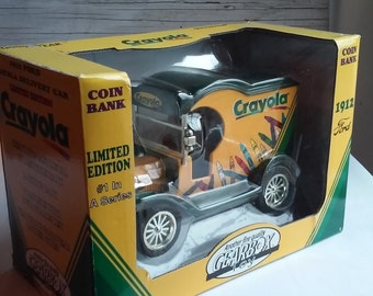 Gearbox Toy Coin Bank. #1 in Series  Bank Depicts a 1912 Ford Crayola Delivery Car. Heavy Die Cast Metal Locking Bank with Detachable Key.