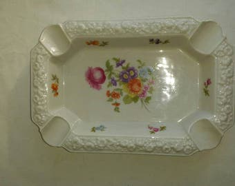 "Vintage Rosenthal China Ashtray. Selb-Germany. Maria pattern. No chips, cracks or crazing.  8 1/2"" long 5 3/4"" wide. Mfgs mark is on bottom."