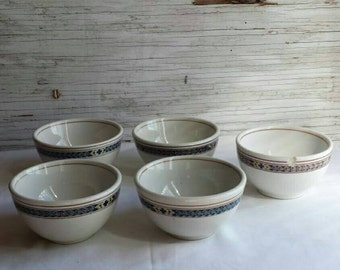 5 Vintage Pennsylvania Railroad Bullion Cups. Purple Laurel Pattern.  One cup has a rim chip. Great set of Railroadiana. Listed in RRCOMM