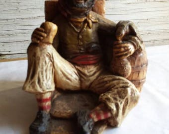"""Vintage Orzeck-Figurine. Manufactured Ware, MA. Seated Pirate with Parrot and Cup of Wine. Very-Nice-Cond.  4"""" tall and 5"""" wide.A nice gift"""