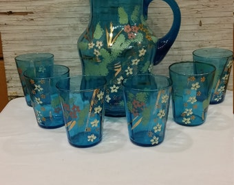 Exquisite Vintage Victorian Enameled Blue Glass Water/Lemonade Pitcher and 6 Matching Glasses