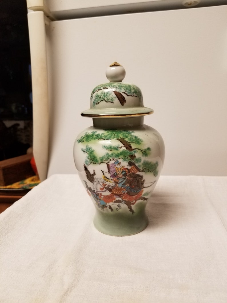 8 12 x 4 12 Made in Japan Ginger Jar with Warrior upon his Horse Beautifully Crafted Free Shipping in the U.S.A. No Chips or Cracks