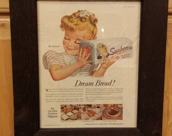 Framed 1950's Ephemera of Miss Sunbeam Holding a Loaf of Sunbeam Enriched Bread