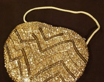 Vintage Gold Sequined Made in Macau Over-the-Shoulder Bag