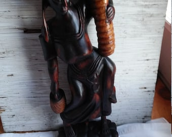 "Vintage 24"" Carving of an Older African Tribal Woman Doing Her Chores."
