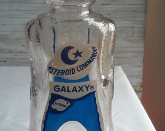 Vintage 1950s Asteroid Commander Galaxy Bank.  Bottom embossed Space Foods Baltimore,Md. Heavy Glass Mfg by Owens Illinois. Mint Cond. Clean