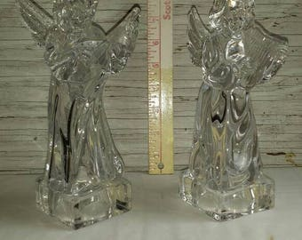 "Vintage Mikasa Lead Crystal Angelic Figurines.  Both 8"" Tall. Both excellent condition.  Both Herald Collection. Angelic Mandolin and Harp."