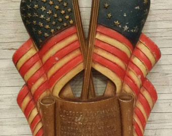 "Vintage 1959 Sexton Patriotic Wall Hanging Depicting a Flag with 49 Stars and another with 13 Stars. Also, the Pledge of Allegiance. 14""×7"""
