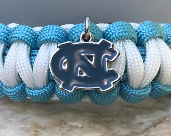 University of North Carolina Tarheels Paracord Bracelet, 3 charm logo choices