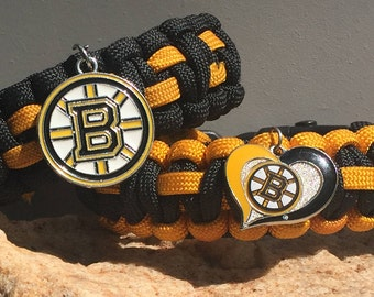 Boston Bruins Paracord Bracelet, stainless steel silver metal center release buckle