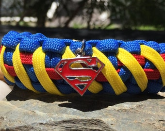 Superman Paracord Bracelet, handcrafted 3 color, 3 charm choices