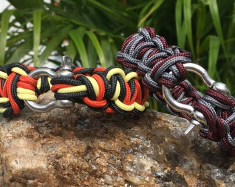 Beach Nautical Paracord Bracelet or Anklet, weaved with the 275 paracord, stainless steel shackle buckle.