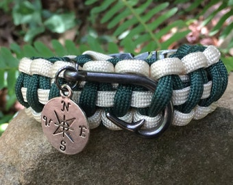 Nautical Beach Paracord Bracelet, with 2 charms, gunmetal steel buckle and fish hook
