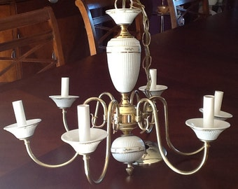 Chandelier Brass and Porcelain