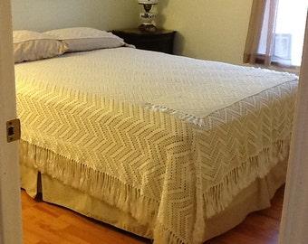 Ecru Crochet Bedspread Handmade in Portugal