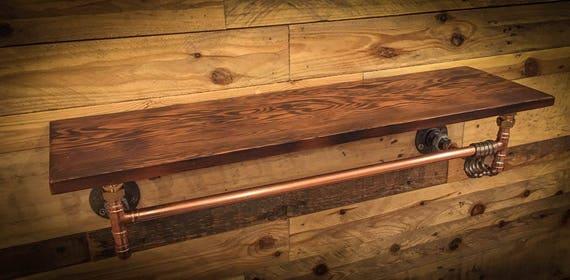 Industrial Copper Pipe Shelf