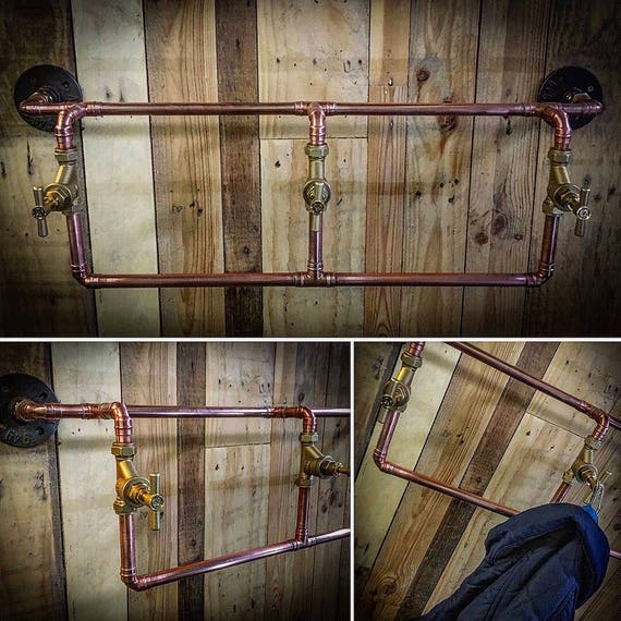 Copper pipe and brass tap hook and rail set