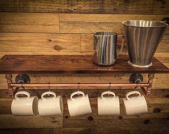 Industrial Copper Pipe Kitchen Shelf