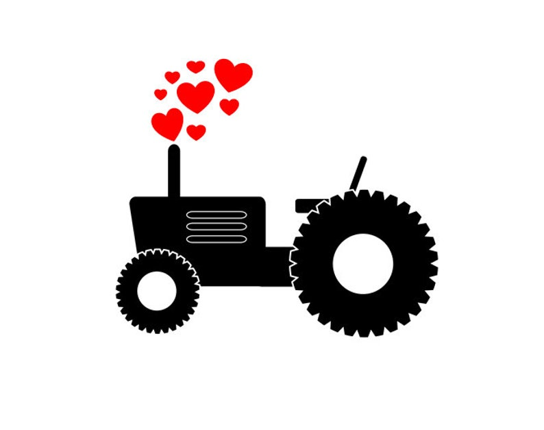 Valentines Day Tractor With Hearts Svg File For Cricut Etsy