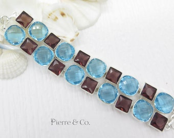 Blue Topaz and Amethyst Sterling Silver Bracelet