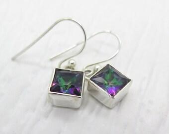 9 carats Quadrillion Cut Mystic Topaz Sterling Silver Earrings