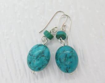 Oval Shape Turquoise Sterling Silver Dangle Earrings
