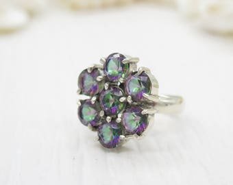 16 carats Flower Shape Mystic Topaz Ring Sterling Silver Ring (Size 6.5)