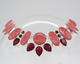 Red Jasper and Garnet Sterling Silver Necklace