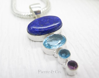 Lapis Lazuli Blue Topaz and Amethyst Sterling Silver Pendant and Chain