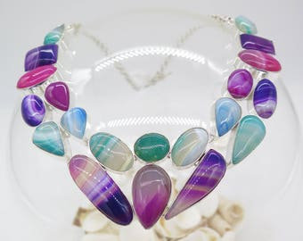 Rainbow Colour Fluorite Sterling Silver Necklace