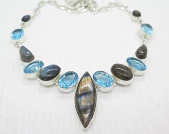 Blue Fire Labradorite Blue Topaz Sterling Silver Necklace