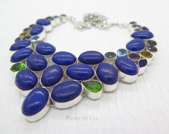 Lapis lazuli Peridot Blue Topaz Citrine Necklace
