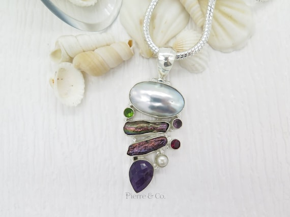 Mabe Pearl Fresh Water Pearl Amethyst Garnet Sterling Silver Pendant and Chain