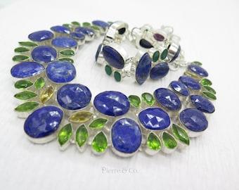 Lapis lazuli Peridot Emerald Necklace and Bracelet Set