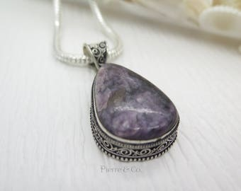Antique Charoite Sterling Silver Pendant and Chain