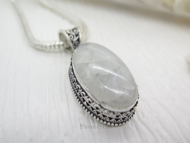 Antique rainbow Moonstone Sterling Silver Pendant and Chain
